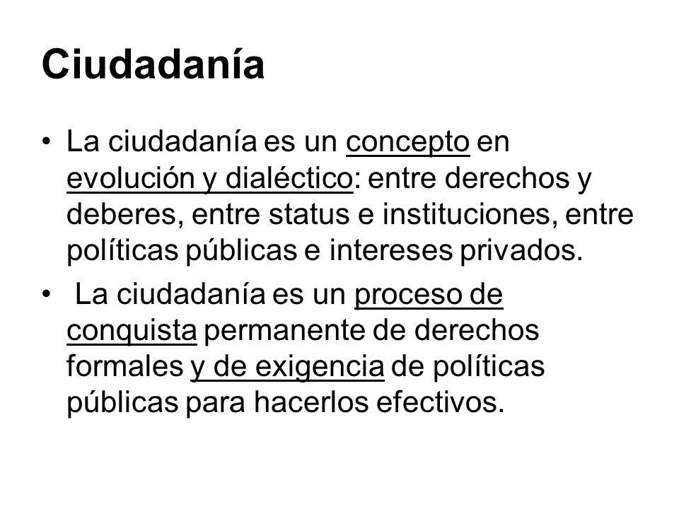 Ciudadanía La ciudadanía es un concepto en evolución y dialéctico: entre derechos y deberes, entre status e instituciones, entre políticas públicas e
