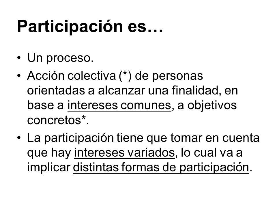 Participación es… Un proceso. Acción colectiva (*) de personas orientadas a alcanzar una finalidad, en base a intereses comunes, a objetivos concretos