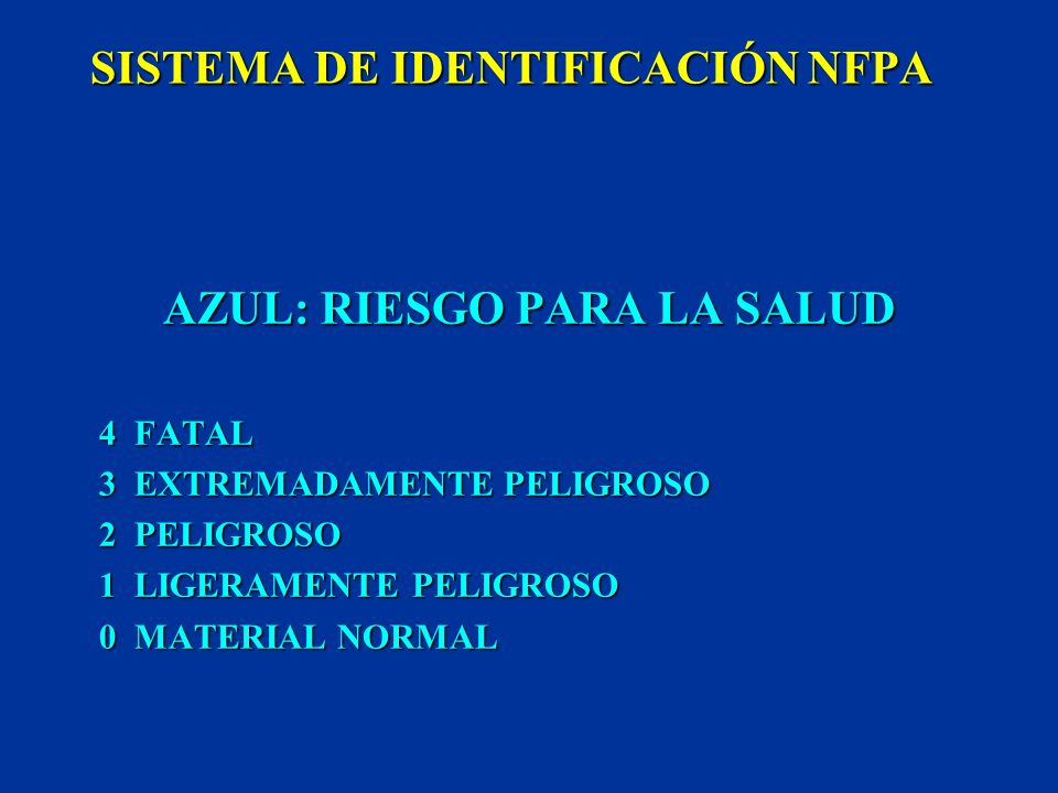 SISTEMA DE IDENTIFICACIÓN NFPA (NATIONAL FIRE PROTECTION ASSOCIATION) NORMALIZADO (704) RIESGO DE INCENDIO EMPLEADO ALMACENAMIENTO INDUSTRIAS CARACTER