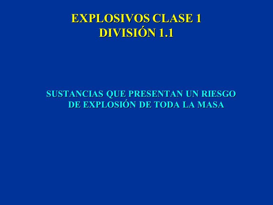 CLASE 1 EXPLOSIVOS SE DISTINGUEN CINCO DIVISIONES LAS PLACAS Y ETIQUETAS MUESTRAN SIEMPRE EL NÚMERO DE CLASE Y DE DIVISIÓN