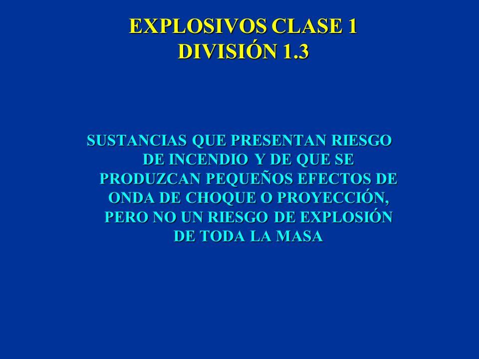 EXPLOSIVOS CLASE 1 DIVISIÓN 1.2 SUSTANCIAS QUE PRESENTAN UN RIESGO DE PROYECCIÓN, PERO NO UN RIESGO DE EXPLOSIÓN DE TODA LA MASA SUSTANCIAS QUE PRESEN