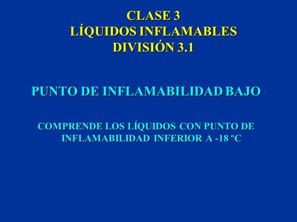 CLASE 3 LÍQUIDOS INFLAMABLES SE CLASIFICAN EN TRES DIVISIONES SEGÚN SU PUNTO DE INFLAMABILIDAD LAS ETIQUETAS DE LOS LÍQUIDOS INFLAMABLES SE DISTINGUEN