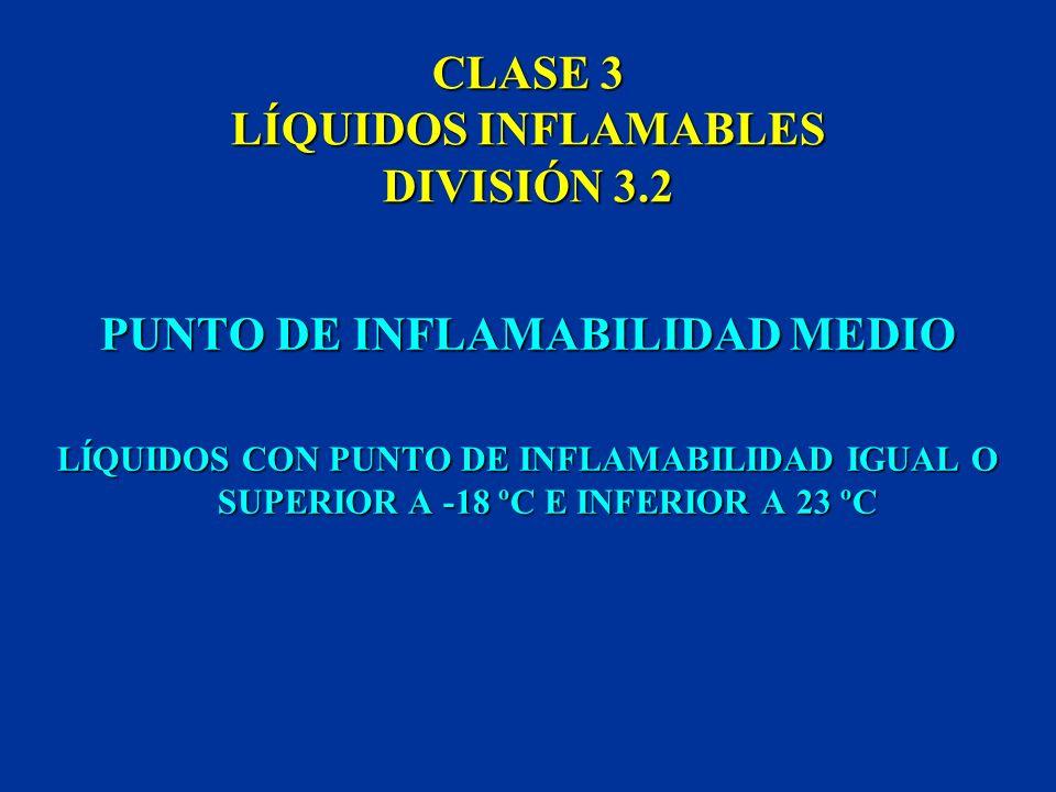 CLASE 3 LÍQUIDOS INFLAMABLES DIVISIÓN 3.1 PUNTO DE INFLAMABILIDAD BAJO COMPRENDE LOS LÍQUIDOS CON PUNTO DE INFLAMABILIDAD INFERIOR A -18 ºC