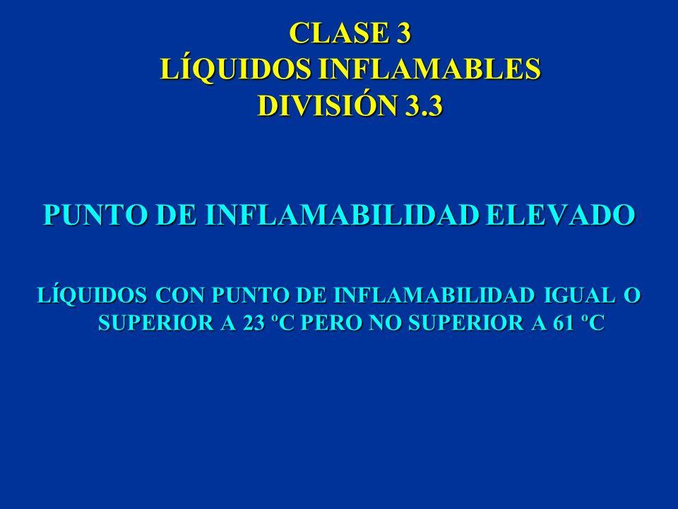 CLASE 3 LÍQUIDOS INFLAMABLES DIVISIÓN 3.2 PUNTO DE INFLAMABILIDAD MEDIO LÍQUIDOS CON PUNTO DE INFLAMABILIDAD IGUAL O SUPERIOR A -18 ºC E INFERIOR A 23