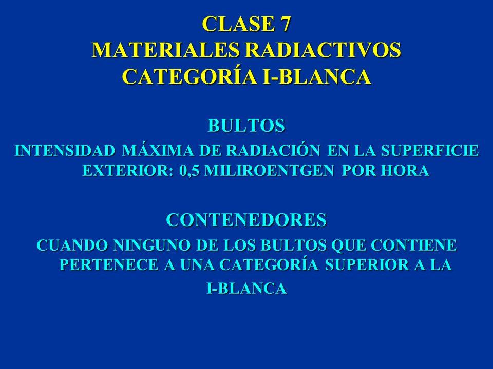 CLASE 7 MATERIALES RADIACTIVOS ÍNDICE DE TRANSPORTE NÚMERO QUE EXPRESA LA INTENSIDAD MÁXIMA DE RADIACIÓN A UN METRO DE DISTANCIA DE LA SUPERFICIE EXTE