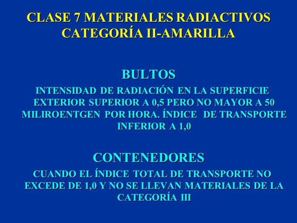 CLASE 7 MATERIALES RADIACTIVOS CATEGORÍA I-BLANCA BULTOS INTENSIDAD MÁXIMA DE RADIACIÓN EN LA SUPERFICIE EXTERIOR: 0,5 MILIROENTGEN POR HORA CONTENEDO