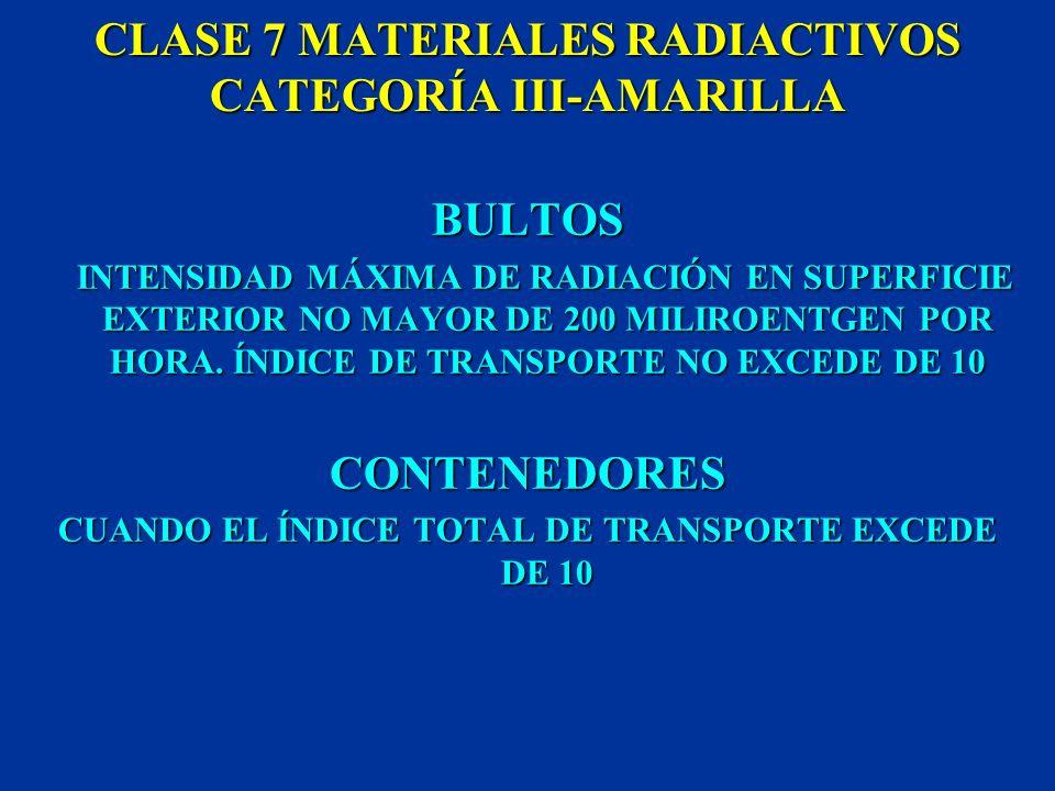 CLASE 7 MATERIALES RADIACTIVOS CATEGORÍA II-AMARILLA BULTOS INTENSIDAD DE RADIACIÓN EN LA SUPERFICIE EXTERIOR SUPERIOR A 0,5 PERO NO MAYOR A 50 MILIRO