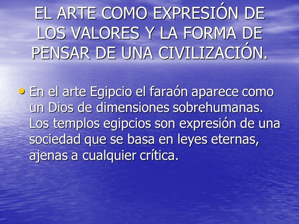EL ARTE COMO EXPRESIÓN DE LOS VALORES Y LA FORMA DE PENSAR DE UNA CIVILIZACIÓN. En el arte Egipcio el faraón aparece como un Dios de dimensiones sobre
