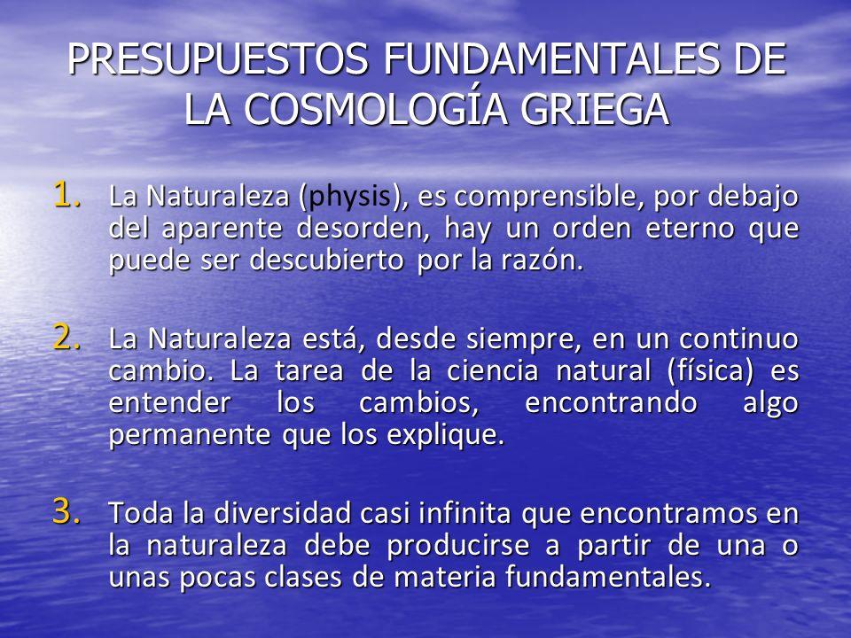 PRESUPUESTOS FUNDAMENTALES DE LA COSMOLOGÍA GRIEGA 1. La Naturaleza (), es comprensible, por debajo del aparente desorden, hay un orden eterno que pue