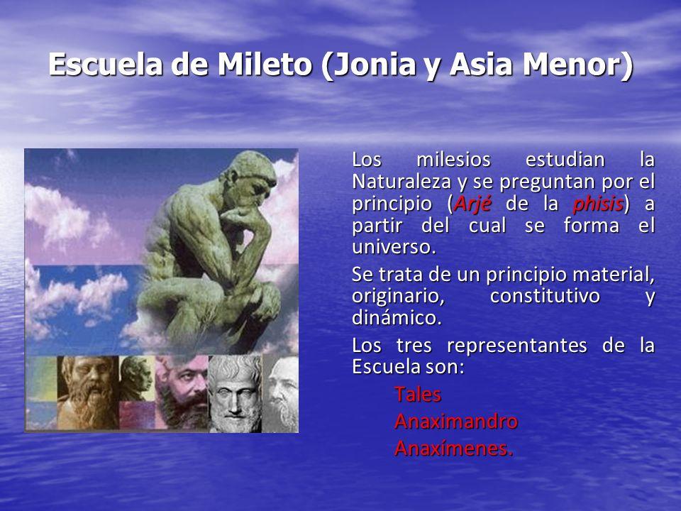 Escuela de Mileto (Jonia y Asia Menor) Los milesios estudian la Naturaleza y se preguntan por el principio (Arjé de la phisis) a partir del cual se fo