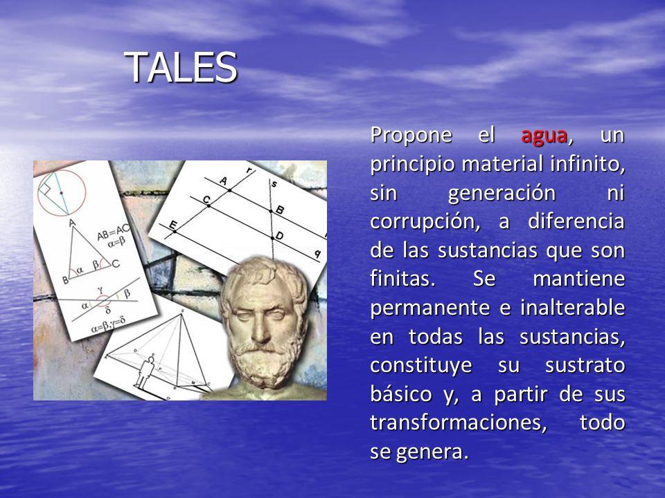 TALES Propone el agua, un principio material infinito, sin generación ni corrupción, a diferencia de las sustancias que son finitas. Se mantiene perma