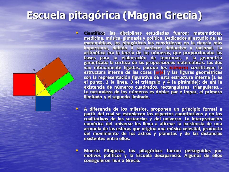 Escuela pitagórica (Magna Grecia) Científico: las disciplinas estudiadas fueron: matemáticas, medicina, música, gimnasia y política. Dedicados al estu