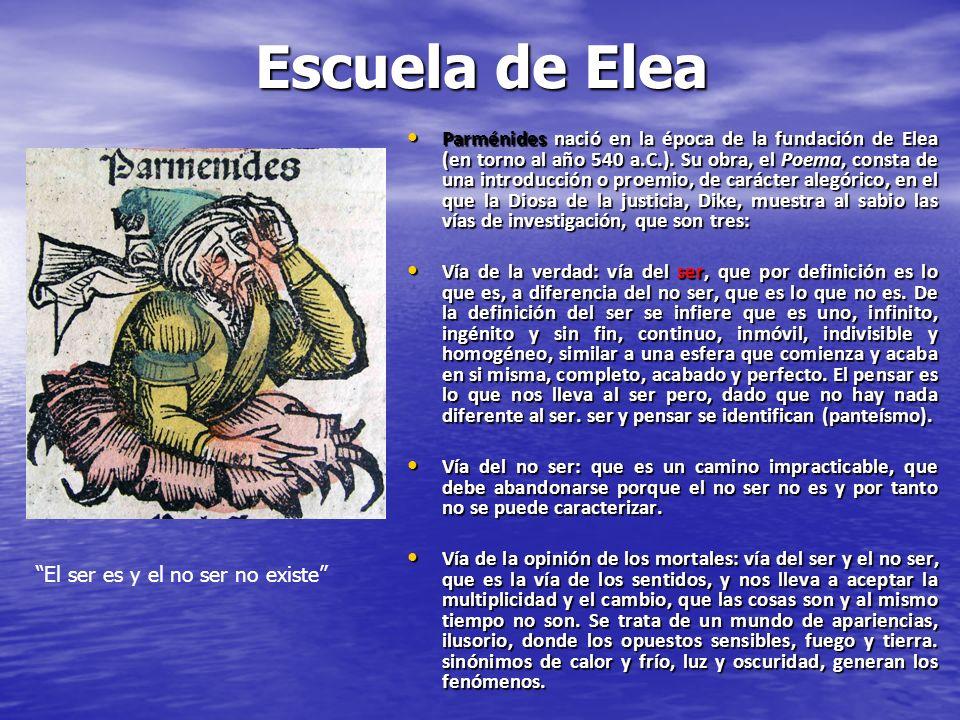 Escuela de Elea Parménides nació en la época de la fundación de Elea (en torno al año 540 a.C.). Su obra, el Poema, consta de una introducción o proem