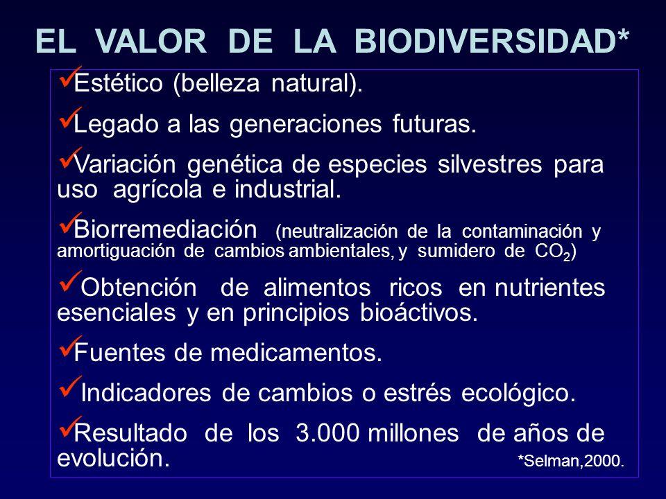 EL VALOR DE LA BIODIVERSIDAD* Estético (belleza natural). Legado a las generaciones futuras. Variación genética de especies silvestres para uso agríco