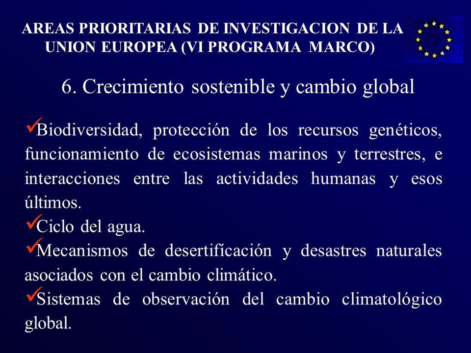 . 6. Crecimiento sostenible y cambio global Biodiversidad, protección de los recursos genéticos, funcionamiento de ecosistemas marinos y terrestres, e