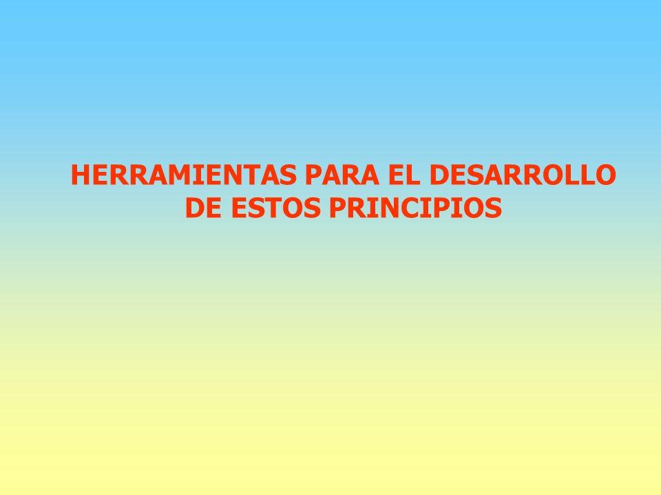 HERRAMIENTAS PARA EL DESARROLLO DE ESTOS PRINCIPIOS