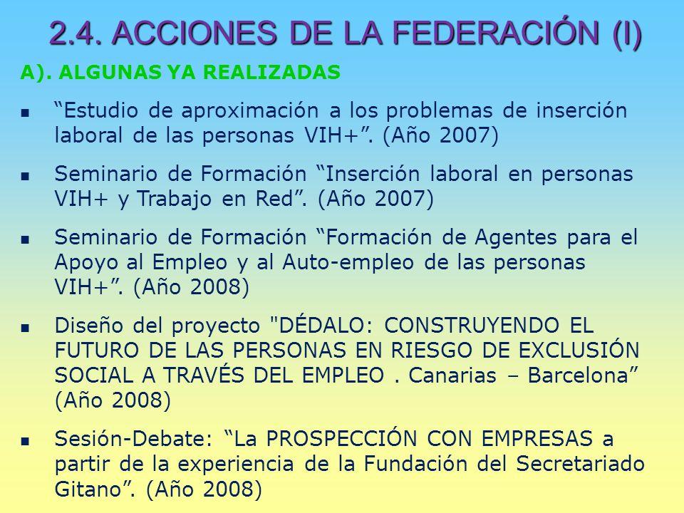 2.4. ACCIONES DE LA FEDERACIÓN (I) A).