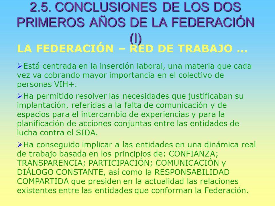 2.5. CONCLUSIONES DE LOS DOS PRIMEROS AÑOS DE LA FEDERACIÓN (I) LA FEDERACIÓN – RED DE TRABAJO … Está centrada en la inserción laboral, una materia qu
