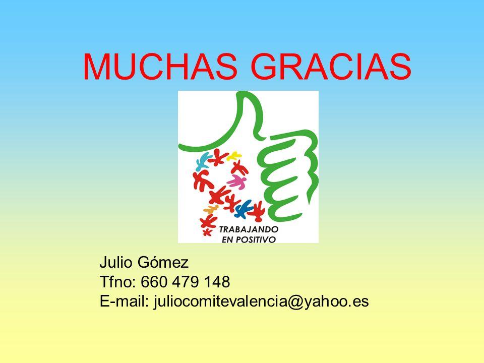MUCHAS GRACIAS Julio Gómez Tfno: 660 479 148 E-mail: juliocomitevalencia@yahoo.es