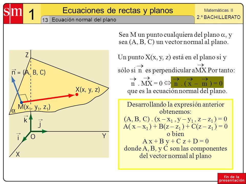 13 1 Ecuaciones de rectas y planos Matemáticas II 2.º BACHILLERATO Ecuación normal del plano Un punto X(x, y, z) está en el plano si y sólo si n es pe