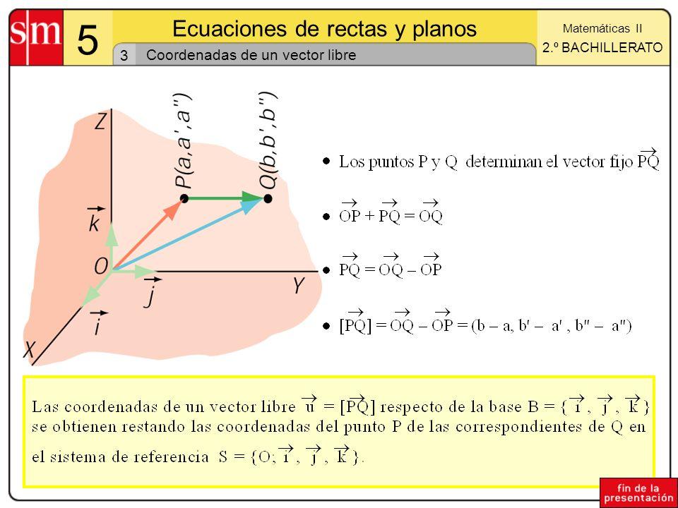 14 1 Ecuaciones de rectas y planos Matemáticas II 2.º BACHILLERATO Ecuación del plano que pasa por tres puntos La determinación lineal de dicho plano será: Por lo tanto su ecuación se obtendrá desarrollando el siguiente determinante: Sean A, B y C tres puntos no alineados.