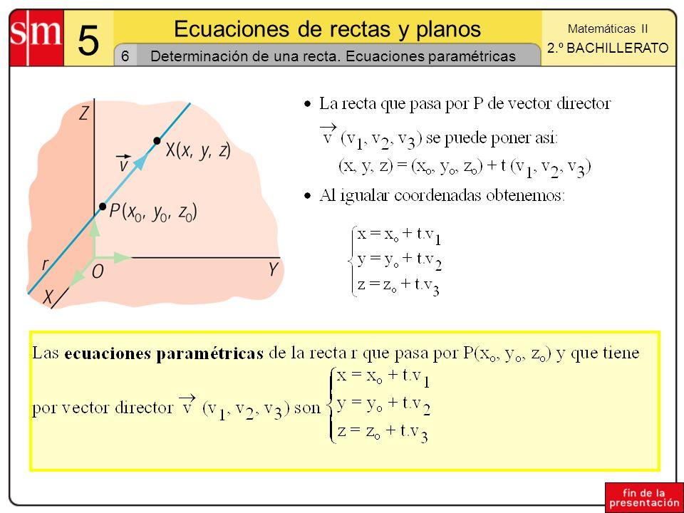 17 5 Ecuaciones de rectas y planos Matemáticas II 2.º BACHILLERATO Posiciones relativas de tres planos (II) Los tres planos tienen infinitos puntos en común Sistema compatible indeterminado de rango 1 rango(A) = rango(B) = 1 Los tres planos no tienen puntos en común Los tres planos no tienen puntos en común Sistema incompatible rango(A) = 2; rango(B) = 3 Tres planos coincidentes Prisma Dos planos paralelos y un tercero secante a ellos 3 4b4b Sean : ax + by + cz + d = 0 y : a x + b y + c z + d = 0 y : a x + b y + c z + d = 0.