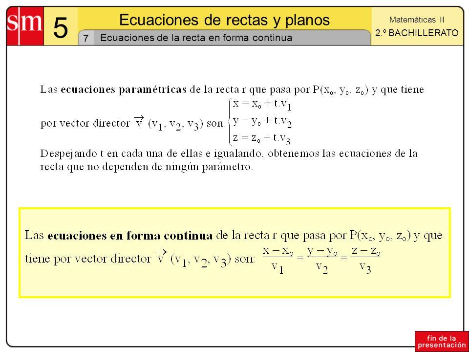 18 5 Ecuaciones de rectas y planos Matemáticas II 2.º BACHILLERATO Posiciones relativas de tres planos (III) Los tres planos no tienen puntos en común Sistema incompatible rango(A) = 1; rango(B) = 2 Los tres planos no tienen puntos en común Sistema incompatible rango(A) = 1; rango(B) = 2 Tres planos paralelos Dos planos coincidentes y un tercero paralelo a ellos 5a5a Sean : ax + by + cz + d = 0 y : a x + b y + c z + d = 0 y : a x + b y + c z + d = 0.