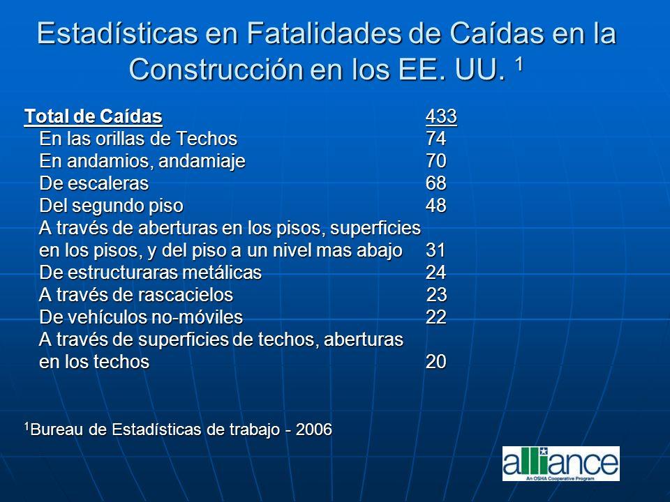 Estadísticas en Fatalidades de Caídas en la Construcción en los EE. UU. 1 Total de Caídas433 En las orillas de Techos74 En las orillas de Techos74 En