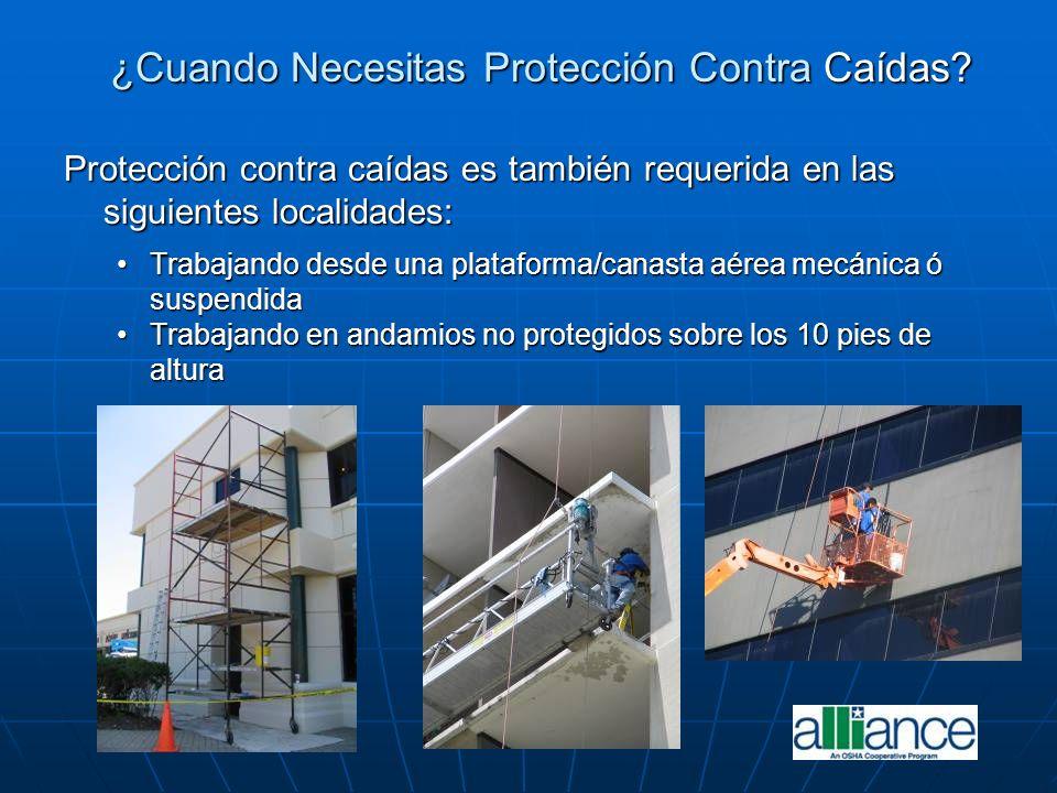 ¿Cuando Necesitas Protección Contra Caídas? Protección contra caídas es también requerida en las siguientes localidades: Trabajando desde una platafor