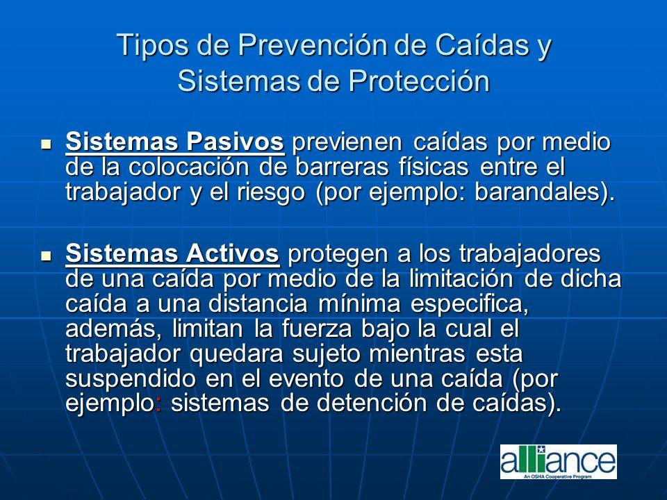 Tipos de Prevención de Caídas y Sistemas de Protección Sistemas Pasivos previenen caídas por medio de la colocación de barreras físicas entre el traba