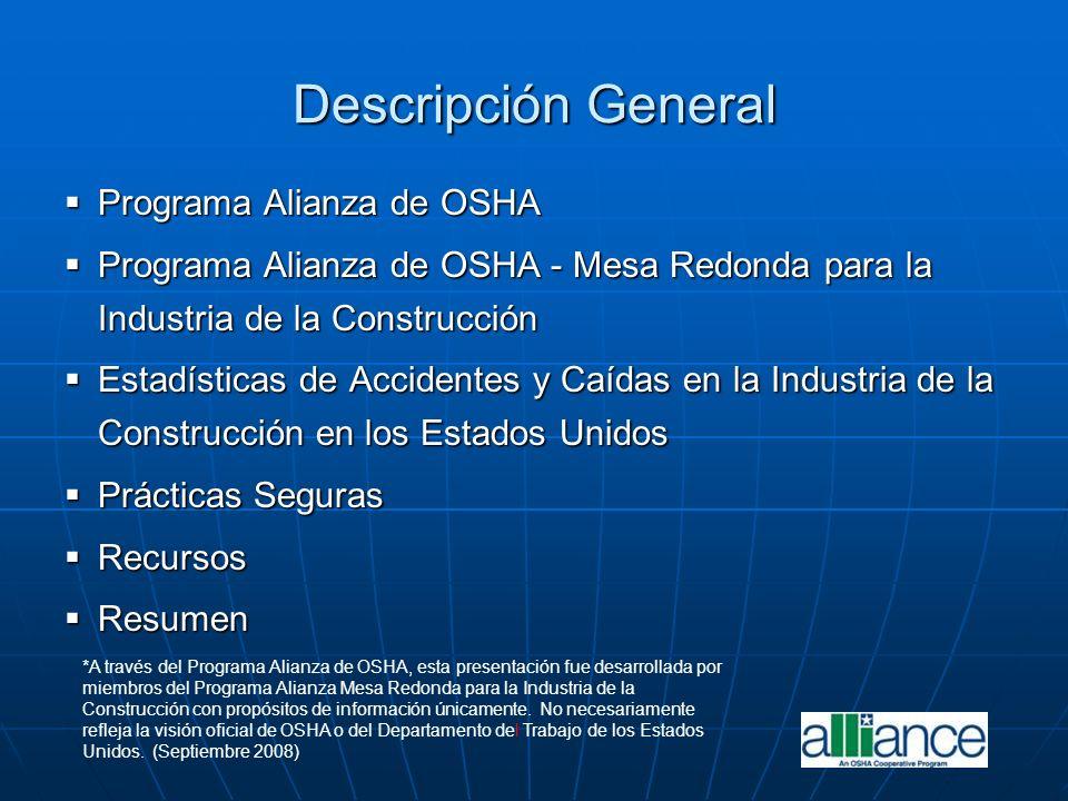 Descripción General Programa Alianza de OSHA Programa Alianza de OSHA Programa Alianza de OSHA - Mesa Redonda para la Industria de la Construcción Pro
