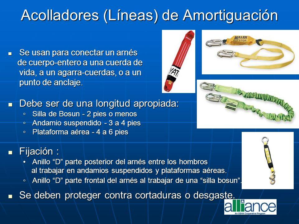 Acolladores (Líneas) de Amortiguación Se usan para conectar un arnés Se usan para conectar un arnés de cuerpo-entero a una cuerda de de cuerpo-entero