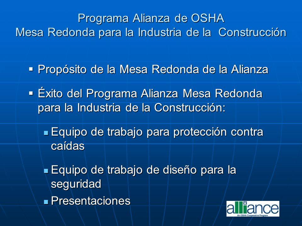 Programa Alianza de OSHA Mesa Redonda para la Industria de la Construcción Propósito de la Mesa Redonda de la Alianza Propósito de la Mesa Redonda de