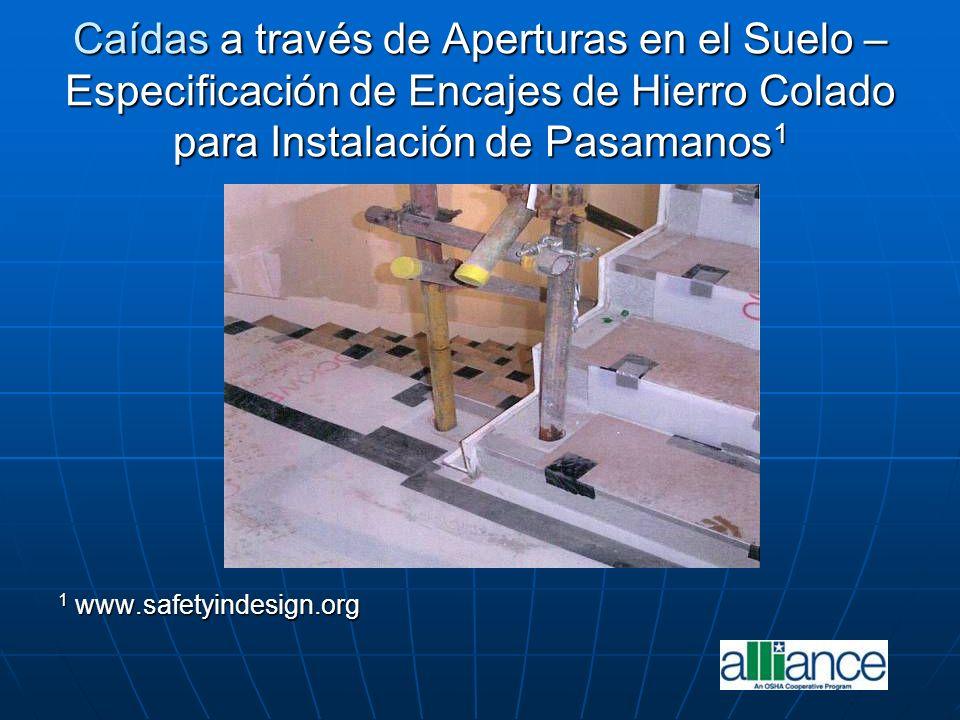 Caídas a través de Aperturas en el Suelo – Especificación de Encajes de Hierro Colado para Instalación de Pasamanos 1 1 www.safetyindesign.org