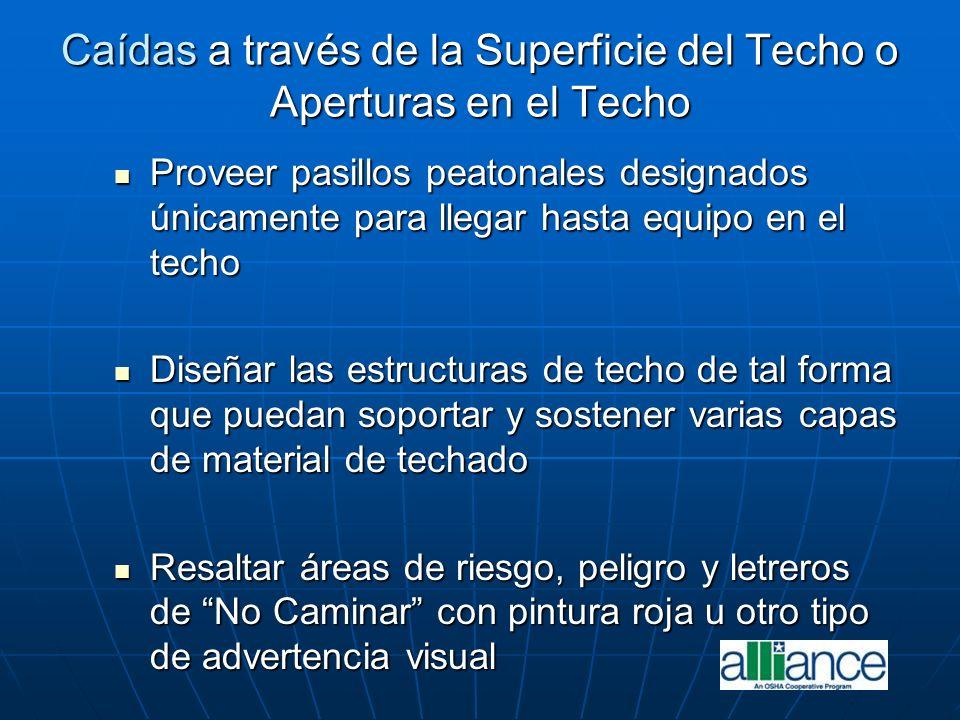 Caídas a través de la Superficie del Techo o Aperturas en el Techo Proveer pasillos peatonales designados únicamente para llegar hasta equipo en el te