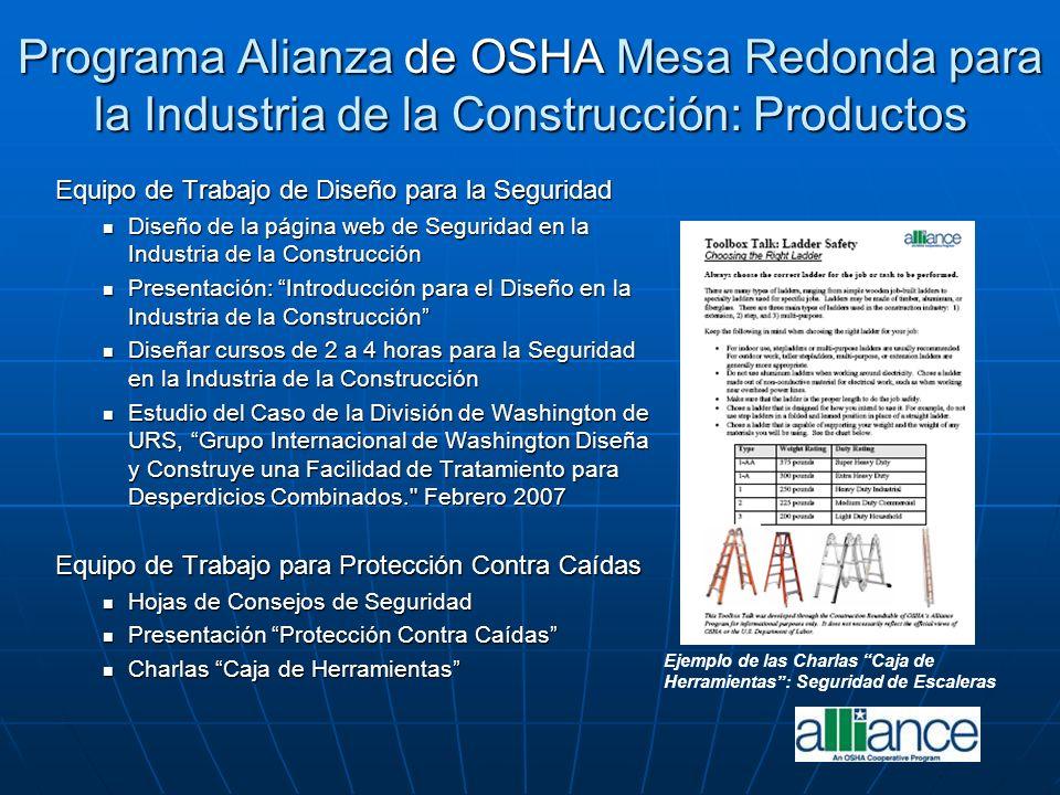 Programa Alianza de OSHA Mesa Redonda para la Industria de la Construcción: Productos Equipo de Trabajo de Diseño para la Seguridad Diseño de la págin