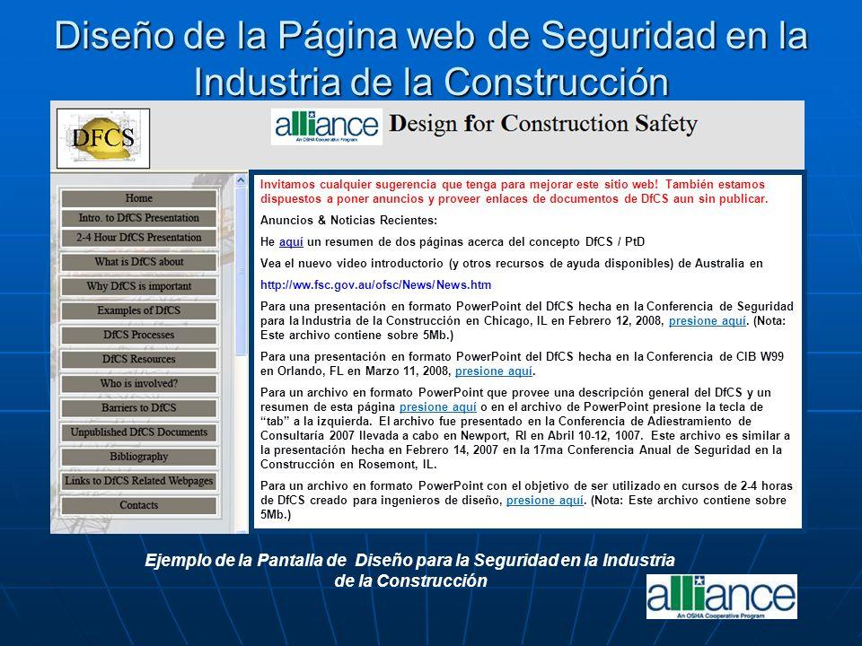 Ejemplo de la Pantalla de Diseño para la Seguridad en la Industria de la Construcción Diseño de la Página web de Seguridad en la Industria de la Const