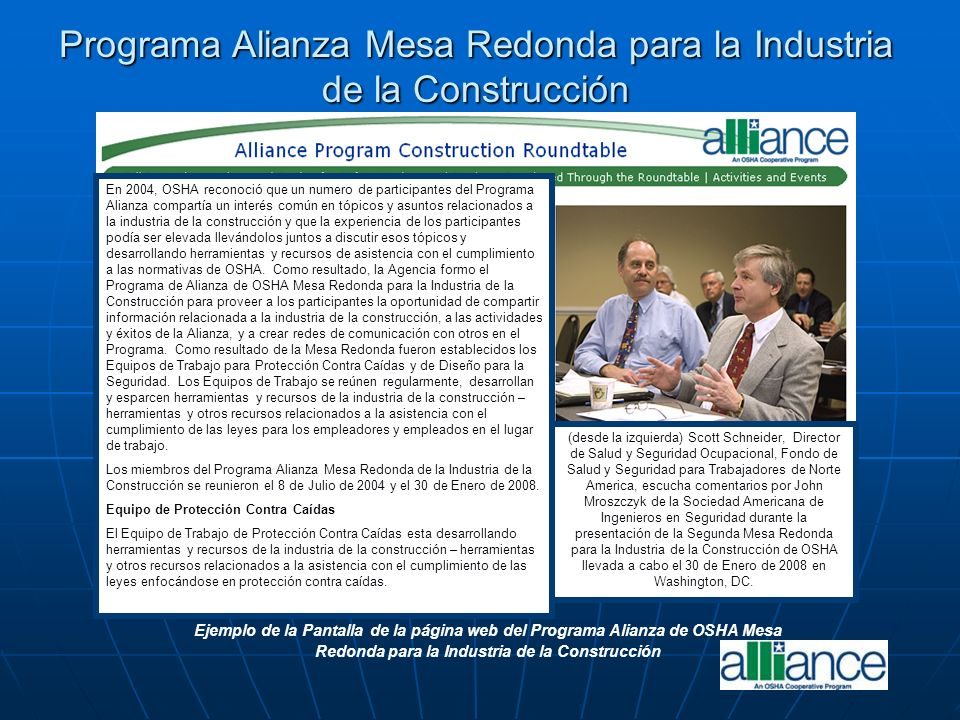 Ejemplo de la Pantalla de la página web del Programa Alianza de OSHA Mesa Redonda para la Industria de la Construcción Programa Alianza Mesa Redonda p