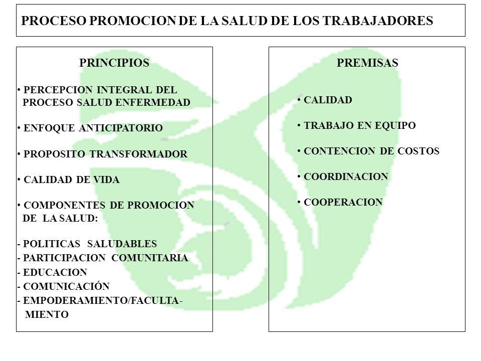 PROCESO PROMOCION DE LA SALUD DE LOS TRABAJADORES PRINCIPIOSPREMISAS PERCEPCION INTEGRAL DEL PROCESO SALUD ENFERMEDAD ENFOQUE ANTICIPATORIO PROPOSITO