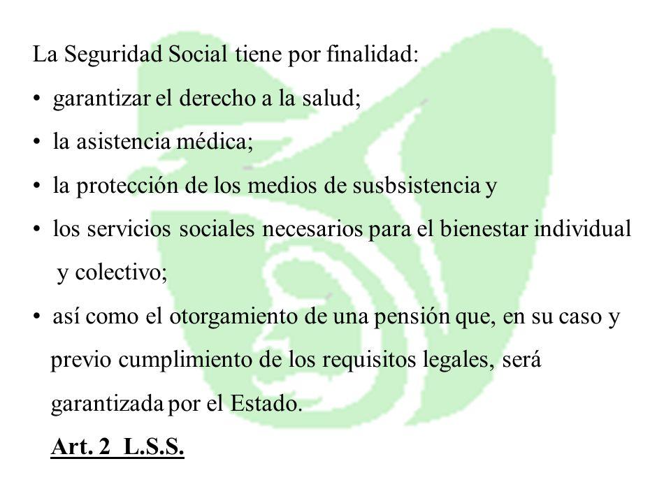 La Seguridad Social tiene por finalidad: garantizar el derecho a la salud; la asistencia médica; la protección de los medios de susbsistencia y los se