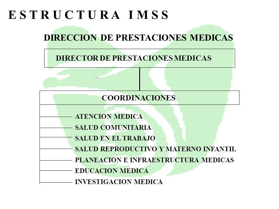 E S T R U C T U R A I M S S DIRECCION DE PRESTACIONES MEDICAS DIRECTOR DE PRESTACIONES MEDICAS COORDINACIONES ATENCION MEDICA SALUD COMUNITARIA SALUD