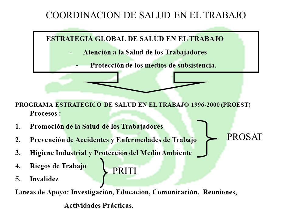 ESTRATEGIA GLOBAL DE SALUD EN EL TRABAJO - Atención a la Salud de los Trabajadores -Protección de los medios de subsistencia. PROGRAMA ESTRATEGICO DE