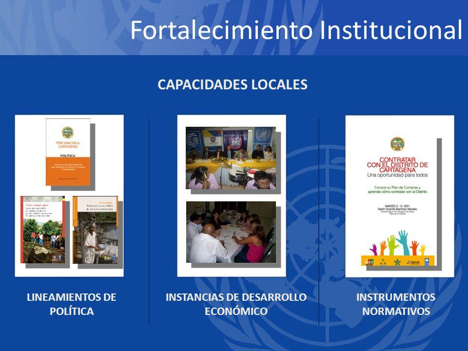LINEAMIENTOS DE POLÍTICA INSTANCIAS DE DESARROLLO ECONÓMICO INSTRUMENTOS NORMATIVOS CAPACIDADES LOCALES Fortalecimiento Institucional