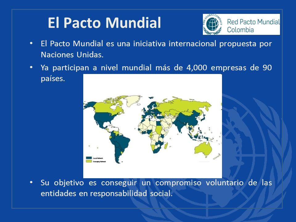 El Pacto Mundial es una iniciativa internacional propuesta por Naciones Unidas. Ya participan a nivel mundial más de 4,000 empresas de 90 países. Su o