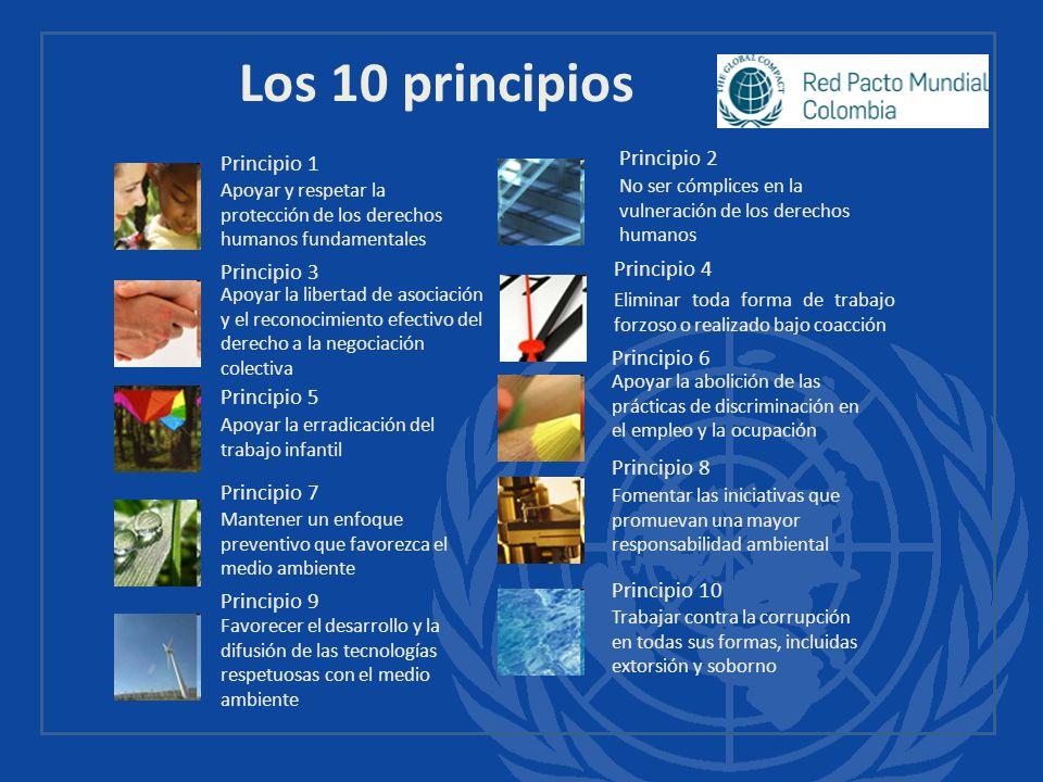 Los 10 principios Principio 1 Apoyar y respetar la protección de los derechos humanos fundamentales Principio 2 No ser cómplices en la vulneración de