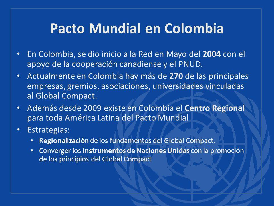 Pacto Mundial en Colombia En Colombia, se dio inicio a la Red en Mayo del 2004 con el apoyo de la cooperación canadiense y el PNUD. Actualmente en Col