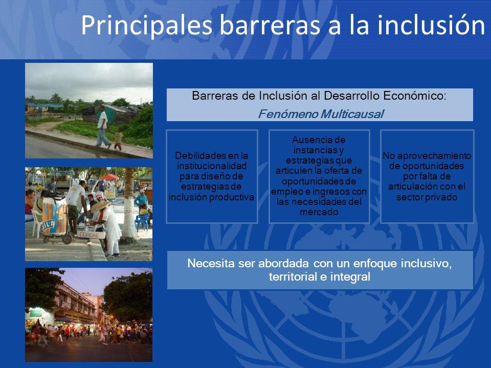 Necesita ser abordada con un enfoque inclusivo, territorial e integral Debilidades en la institucionalidad para diseño de estrategias de inclusión pro