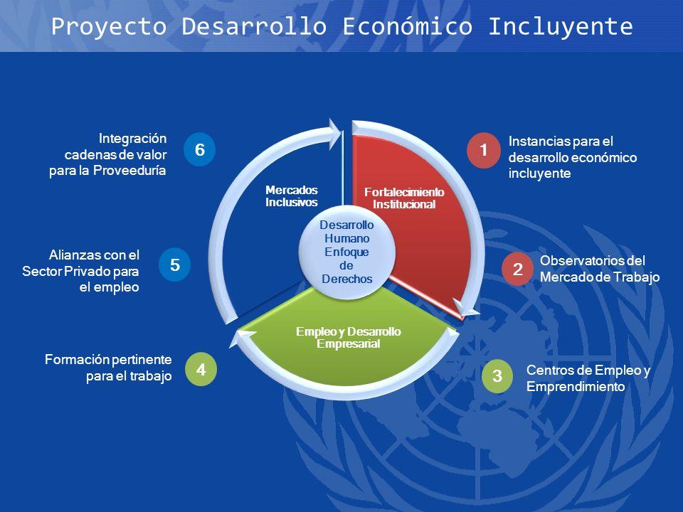 Proyecto Desarrollo Económico Incluyente Fortalecimiento Institucional Empleo y Desarrollo Empresarial Mercados Inclusivos Instancias para el desarrol