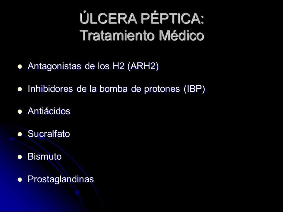 ÚLCERA PÉPTICA: Tratamiento Médico Antagonistas de los H2 (ARH2) Antagonistas de los H2 (ARH2) Inhibidores de la bomba de protones (IBP) Inhibidores d