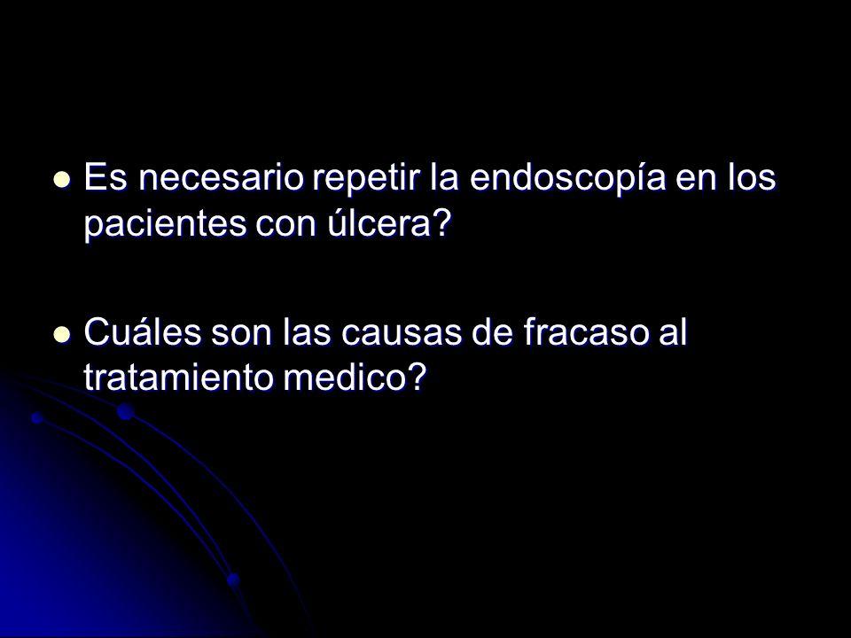 Es necesario repetir la endoscopía en los pacientes con úlcera? Es necesario repetir la endoscopía en los pacientes con úlcera? Cuáles son las causas